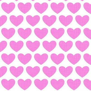 linen hearts - hot pink on white