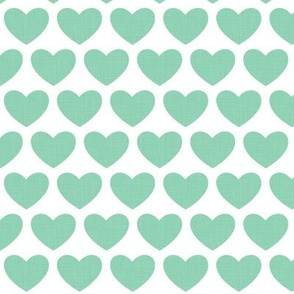 linen hearts - green on white