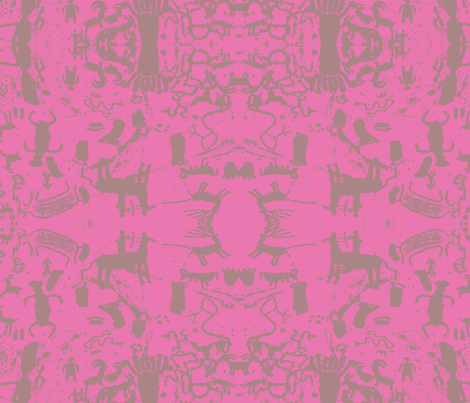 petroglyphs grey  pink fabric by dreamskyart on Spoonflower - custom fabric