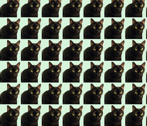 Velvet the Cat 6 Light Green fabric by oceanpeg on Spoonflower - custom fabric