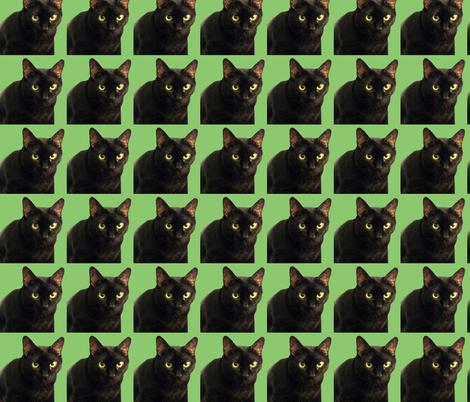 Velvet the Cat 8 Green fabric by oceanpeg on Spoonflower - custom fabric