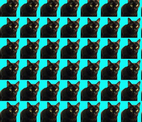 Velvet the Cat 9 Bright Blue fabric by oceanpeg on Spoonflower - custom fabric