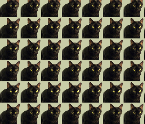 Velvet the Cat 12 Olive Green fabric by oceanpeg on Spoonflower - custom fabric