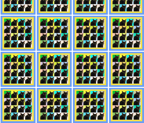 Velvet the Cat 163R Blue and Yellow frame fabric by oceanpeg on Spoonflower - custom fabric