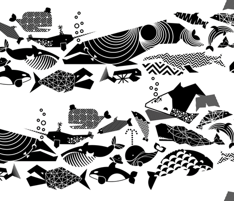 A Geometric Cetacean Parade - Black& White fabric by aldea on Spoonflower - custom fabric