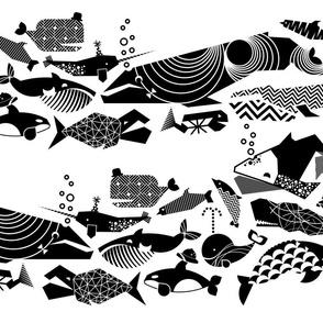 A Geometric Cetacean Parade - Black& White