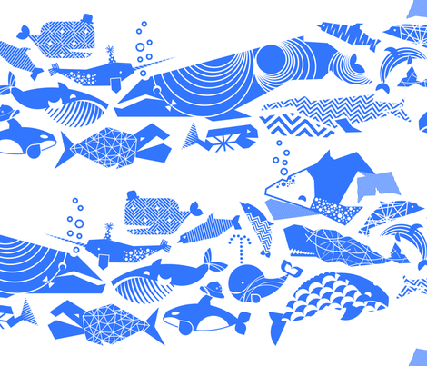 A Geometric Cetacean Parade - Bright Blue fabric by aldea on Spoonflower - custom fabric