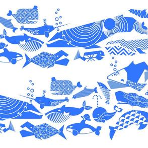 A Geometric Cetacean Parade - Bright Blue