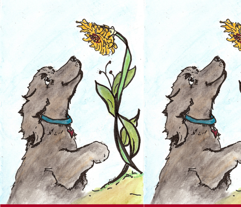 sunflower dog fabric by cfishdesign on Spoonflower - custom fabric