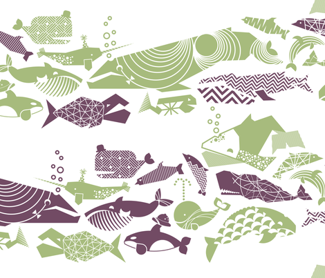 A Geometric Cetacean Parade - sage & grape fabric by aldea on Spoonflower - custom fabric