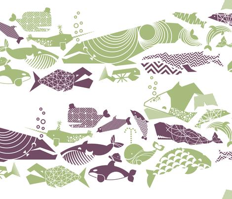 A Geometric Cetacean Parade - sage & grape fabric by aldea on Spoonflower - custom fabric