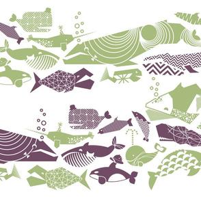 A Geometric Cetacean Parade - sage & grape