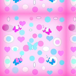 pink_background_with colored dots and butterflies