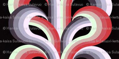 Panel of Cascade red, purple, gray, cream, black