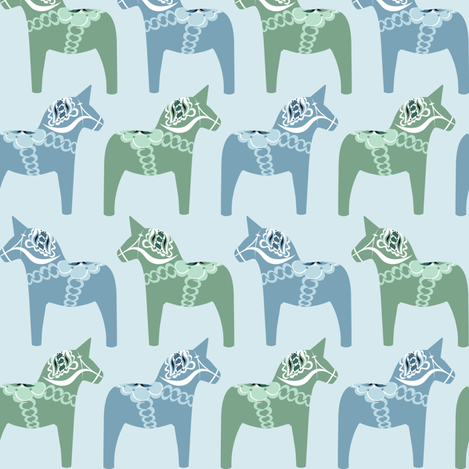 Dala Horse (Blue) fabric by nekineko on Spoonflower - custom fabric