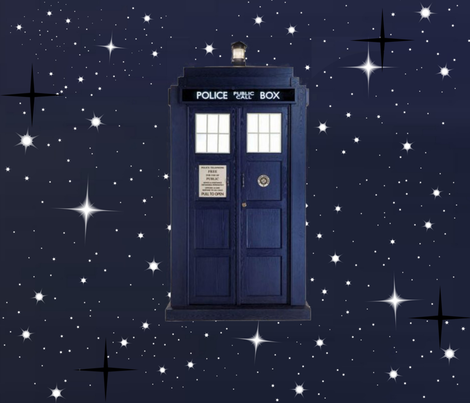 LARGE POLICE BOX fabric by bluevelvet on Spoonflower - custom fabric