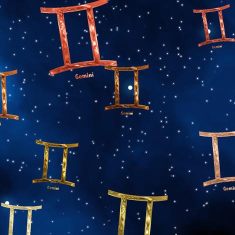Ditsy Gemini Zodiac Signs fabric by animotaxis on Spoonflower - custom fabric