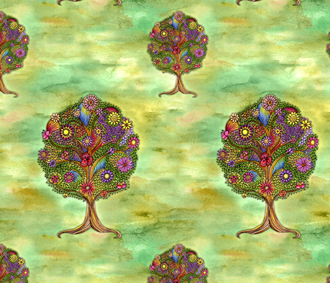 Enchanted Tree fabric by dinorahaleatelier on Spoonflower - custom fabric