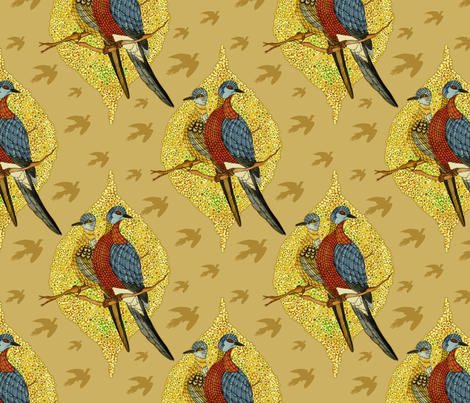 Extinct birds - Passenger pigeons fabric by dinorahdesign on Spoonflower - custom fabric