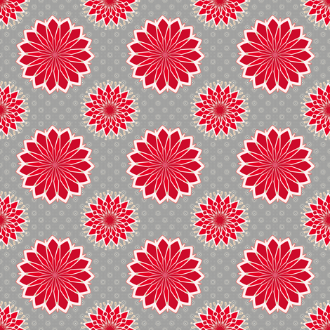 Cactus Flower in Red fabric by joanmclemore on Spoonflower - custom fabric
