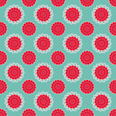 Cactus Flower on Turquoise fabric by joanmclemore on Spoonflower - custom fabric