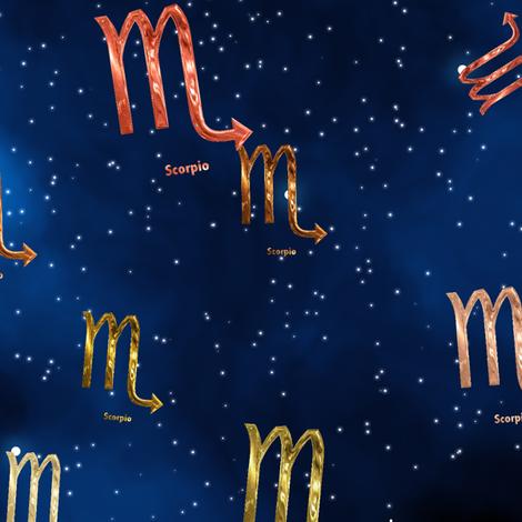 Ditsy Scorpio Zodiac Signs fabric by animotaxis on Spoonflower - custom fabric