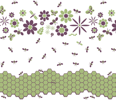It's a BUSYBEE day at the Flower Garden fabric by nicholeann on Spoonflower - custom fabric