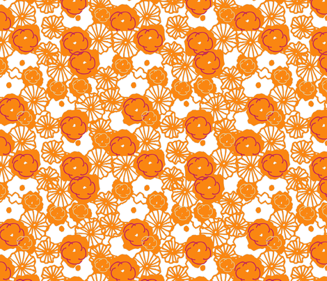 orange_floral_print-01 fabric by sofiedesigns on Spoonflower - custom fabric