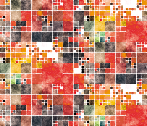 Painted Tiles 2 fabric by animotaxis on Spoonflower - custom fabric