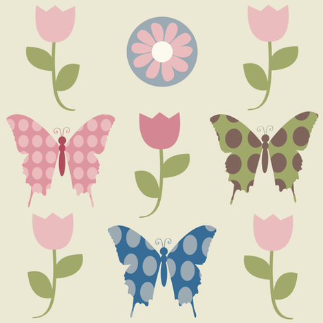 butterfly lightbeige tulip coord fabric by amy_frances_designs on Spoonflower - custom fabric