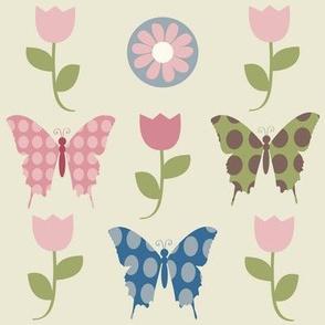 butterfly lightbeige tulip coord
