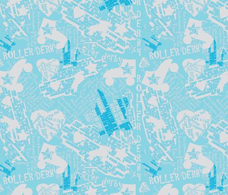 Do You Speak Roller Derby? - Blue/Lt. Gray fabric by owlandchickadee on Spoonflower - custom fabric