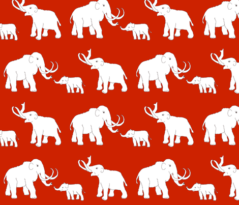 mammoths_red fabric by celebrindal on Spoonflower - custom fabric