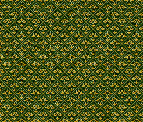 Tudor_diamond_gold_on_green fabric by recreating_history on Spoonflower - custom fabric