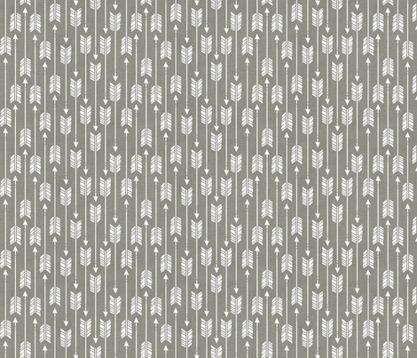 Small Arrows: White on Gray Canvas fabric by nadiahassan on Spoonflower - custom fabric
