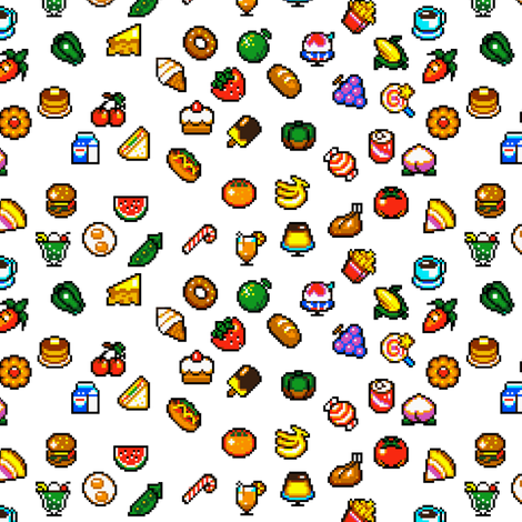 Super Mini Pixel Foods fabric by lovelylatte on Spoonflower - custom fabric