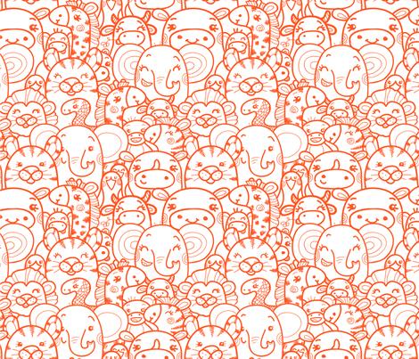 Wild Animals - Orange fabric by oksancia on Spoonflower - custom fabric