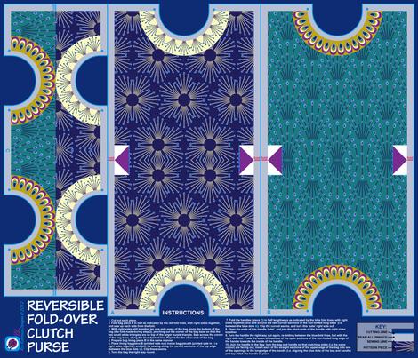 Deco reversible fold-over clutch purse fabric by coggon_(roz_robinson) on Spoonflower - custom fabric