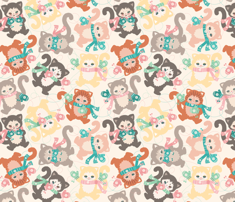 Kitschy Kittens in Mittens fabric by jackie_h on Spoonflower - custom fabric