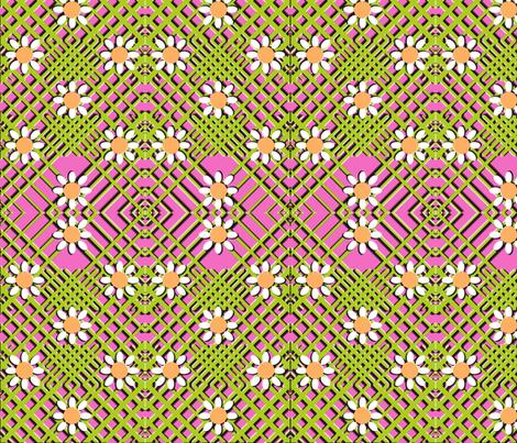 Geo Flowers Pink fabric by nezumiworld on Spoonflower - custom fabric