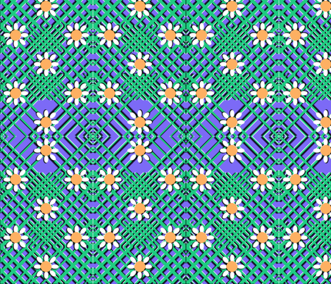 Geo Flowers Blue fabric by nezumiworld on Spoonflower - custom fabric