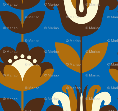 retro flowers (blue)