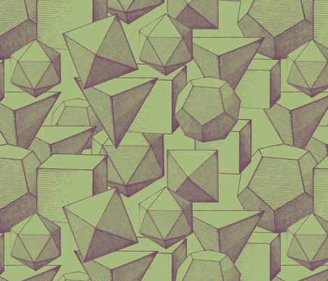 polyhedra green & purple fabric by ravynka on Spoonflower - custom fabric