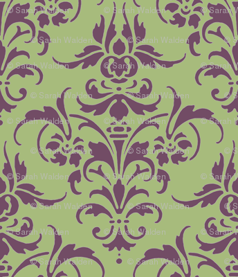 Iris and Celadon Damask