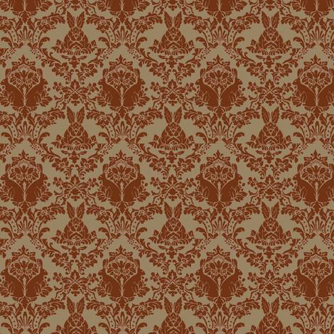 streampunk damask rabbit chocolate/taupe fabric by mandaboo on Spoonflower - custom fabric