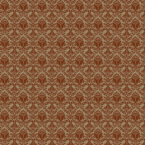 streampunk damask rabbit chocolate/taupe