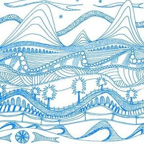 sketchbook landscape electric blue