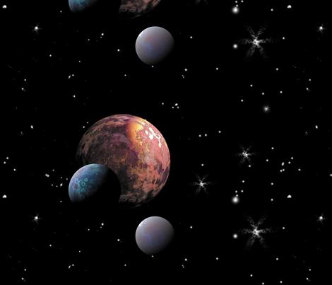 Three Moons Border fabric by animotaxis on Spoonflower - custom fabric