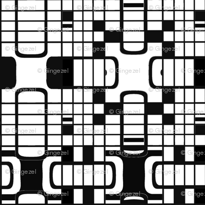 Black and White Gameboard Geometric © Gingezel™ 2012