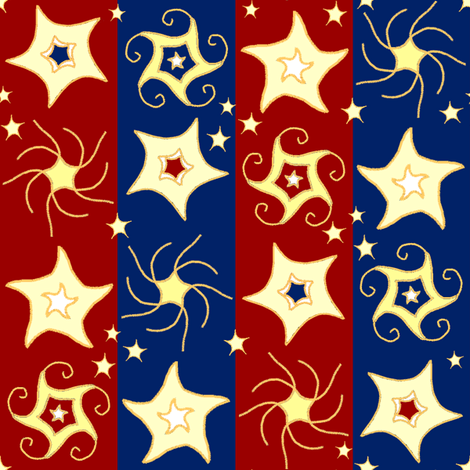 Embroidered_Swirling_and_Twilling_Stars_on_Stripes_C fabric by khowardquilts on Spoonflower - custom fabric